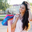 Beautiful woman with shopping bags — Foto Stock