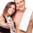 Beautiful healthy-looking couple in sports outfit - Stock Photo