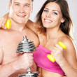 Beautiful healthy-looking couple in sports outfit — Stock Photo