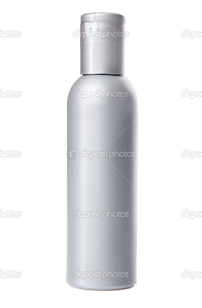 Gray bottle for cosmetics, isolated on white background — Stock Photo #11650611