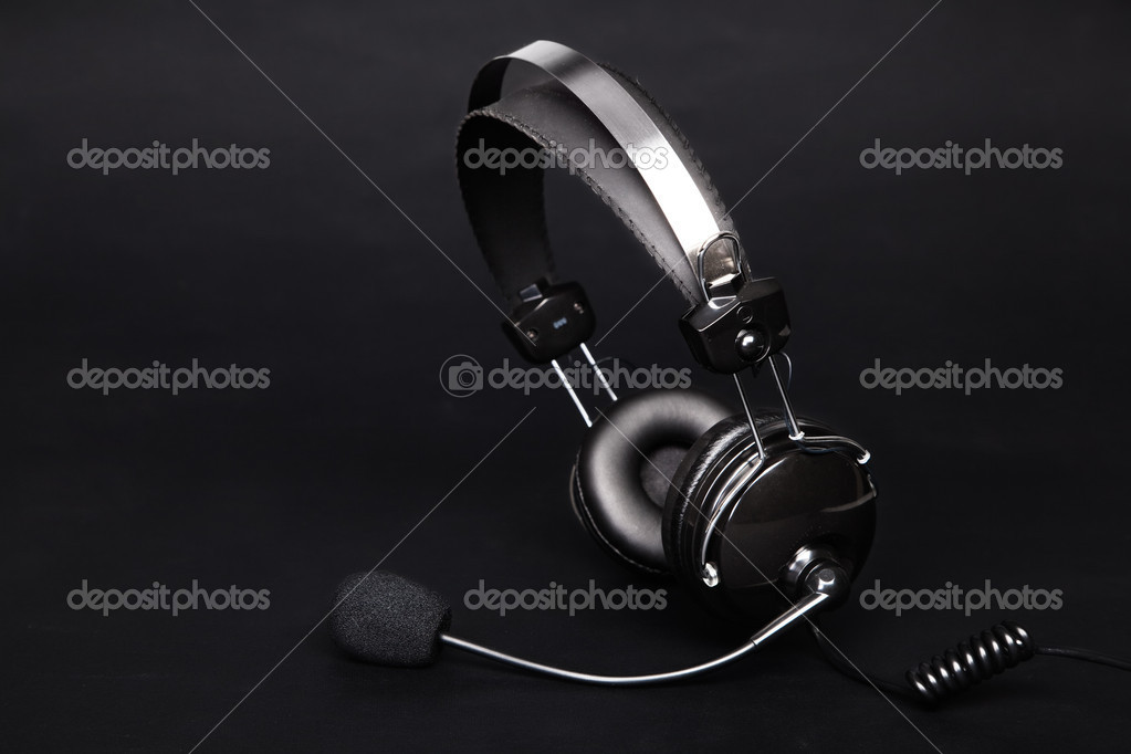 Modern headset on black background — Stock Photo #11650618