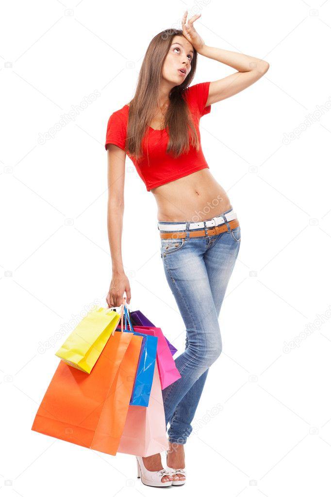 Beautiful lady with shopping bags — Stock Photo © gdolgikh ...