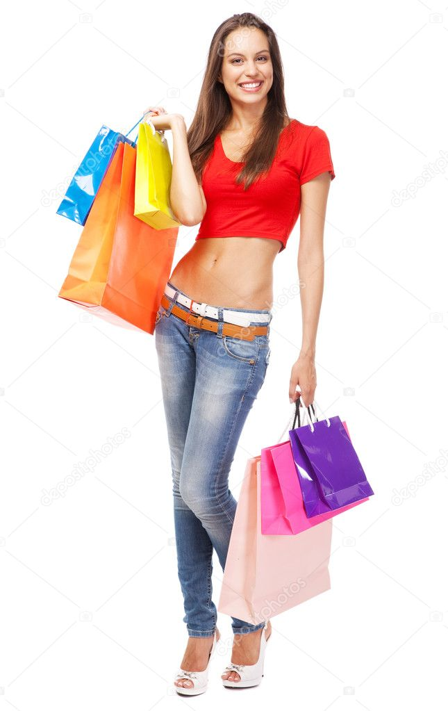 Beautiful lady with shopping bags, isolated on white background  Stock Photo #12036761