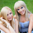 Two young girl friends in a park — Foto Stock