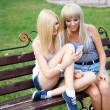 Foto Stock: Two girl friends using a smartphone