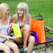 Two beautiful girl friends with shopping bags — 图库照片