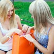 Foto Stock: Two beautiful girl friends with shopping bags