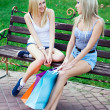 Royalty-Free Stock Photo: Two beautiful girl friends with shopping bags
