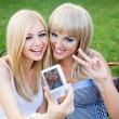 Two beautiful young girl friends with a photo camera — Stock Photo