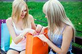 Due amici ragazza belli con borse della spesa — Foto Stock
