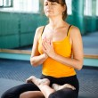 Mature woman exercising yoga - Stock Photo
