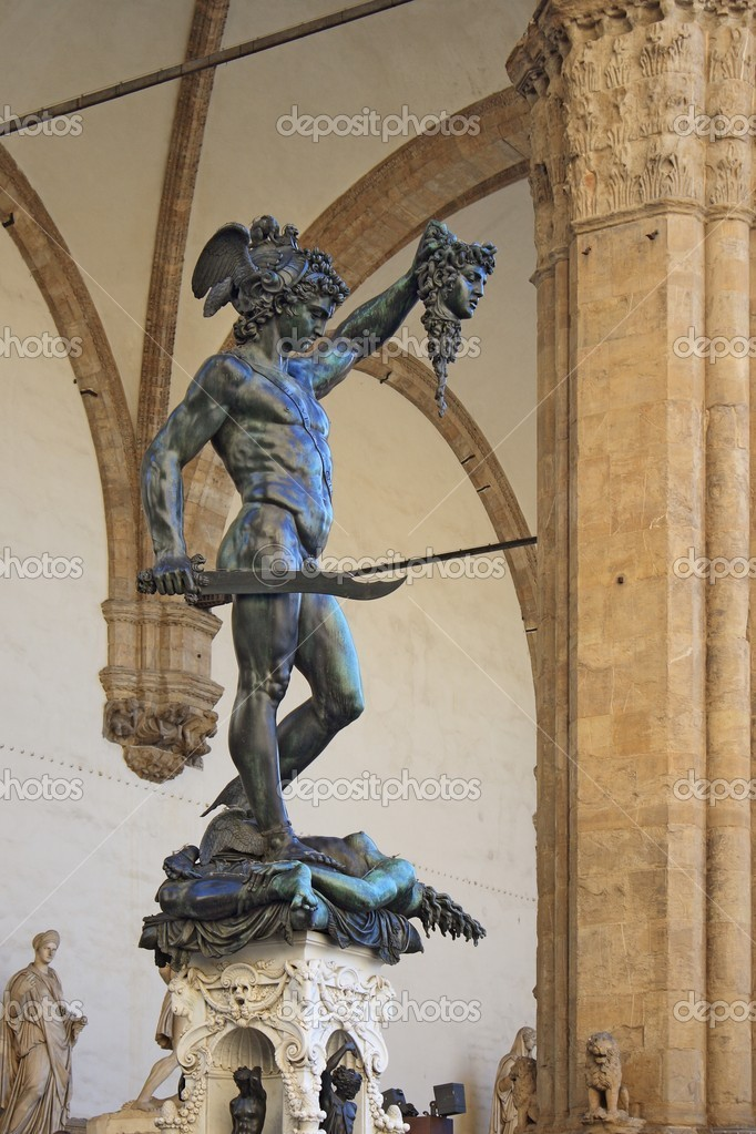 Perseus holding head of Medusa, bronze statue created by Benvenuto Cellini in 1554 and exposed nowadays in Loggia de Lanzi, Piazza della Signoria, Florence, Italy. — Stock Photo #11854943