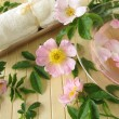 Bath essence with wild rose flowers — Stock Photo
