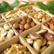 Nut mix in wooden box — Stock Photo