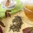 Herbal tea with walnut leaves — Stock Photo