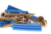 синий дюбелей и шурупов — Стоковое фото