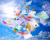 Uçan euro para — Stok fotoğraf