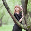 The woman nestled on a tree — Stock Photo