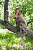 The girl sits on a tree — Stockfoto