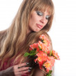 The woman with a bunch of flowers — Stock Photo