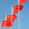 A row of Chinese flags — Stock Photo