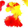 Red and yellow ink blot - Stock Photo