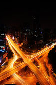 Traffic on night road junction — Foto Stock