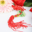 Red embroidery Sachet and Pink Chrysanthemum — Foto de Stock