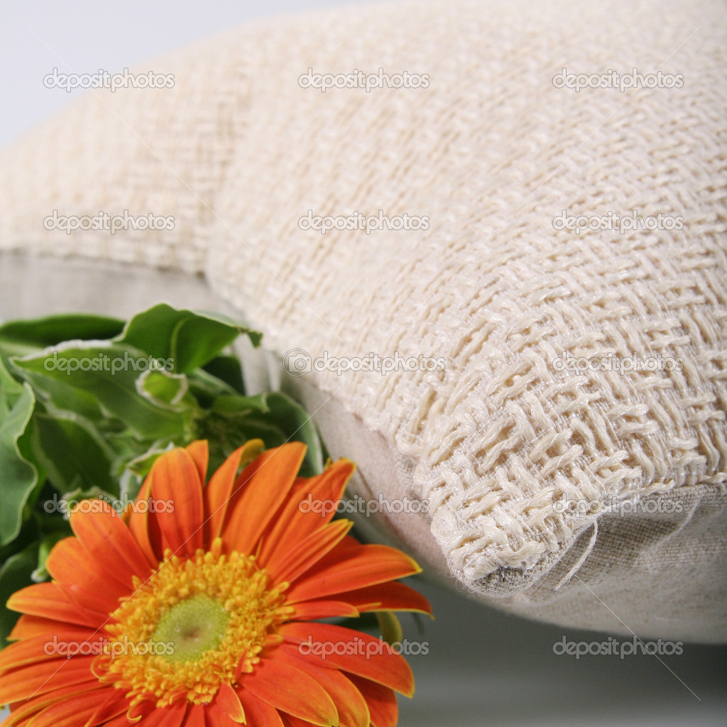 Orange Chrysanthemum and linen pillow — Stock Photo #10777736