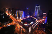 Traffic on night road junction — Stock Photo