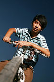 Young asian biker — Stock Photo