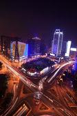 Traffic on night road junction — Stock Photo