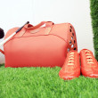 Red luggage and shoes — Stock Photo