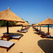 Stock Photo: Sunshade and chairs on beach, Sanya, China