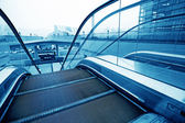Moving up escalator — Stock Photo