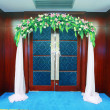 Door with a wreath - Stockfoto