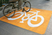 Yellow bike traffic signs — Stock Photo
