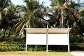 Bus stations near the tropical trees — Stock Photo