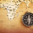 Compass on a Treasure map - Foto de Stock
