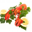 Royalty-Free Stock Photo: Red lobster with lemon and parsley