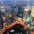 Shanghai financial center at dusk — Stock Photo