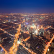 Aerial view of the bright lights of city — Stock Photo