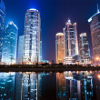 Night view of shanghai financial center district — Stock Photo