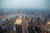 Bird's eye view shanghai at dusk — Stock Photo