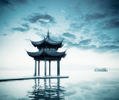 Ancient pavilion on the west lake — Stock Photo