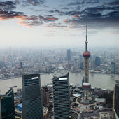 Shanghai at dusk with sunset glow — Stock Photo