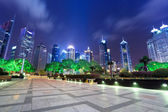 Night scene in shanghai financial center — Stock Photo