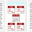 Holiday icons calendars for july 2012. — Stock Vector