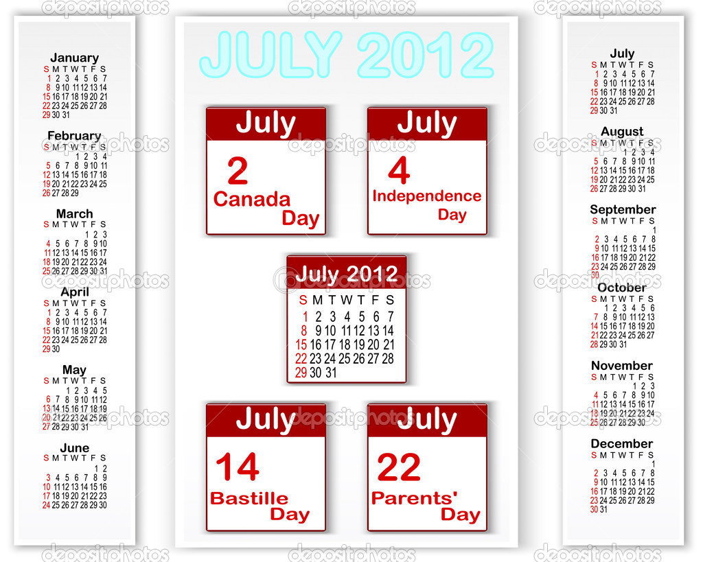 Calendar for 2012 with banners and holiday icons calendars for july 2012. American style. Vector 10 eps. — Stock Vector #10744593