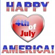 Happy 4th July America, greeting card. — Grafika wektorowa
